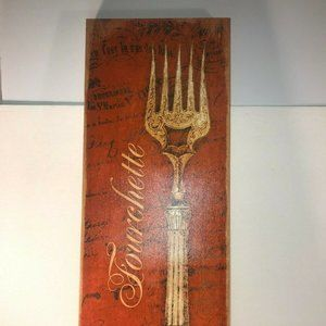 """Other - Fourchette Fork Wall Decor Canvas Wood Frame 25"""""""